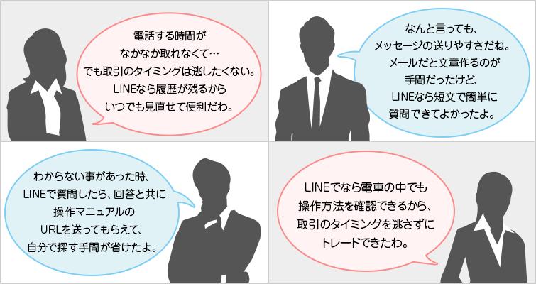 業界初のLineアプリでのサポート